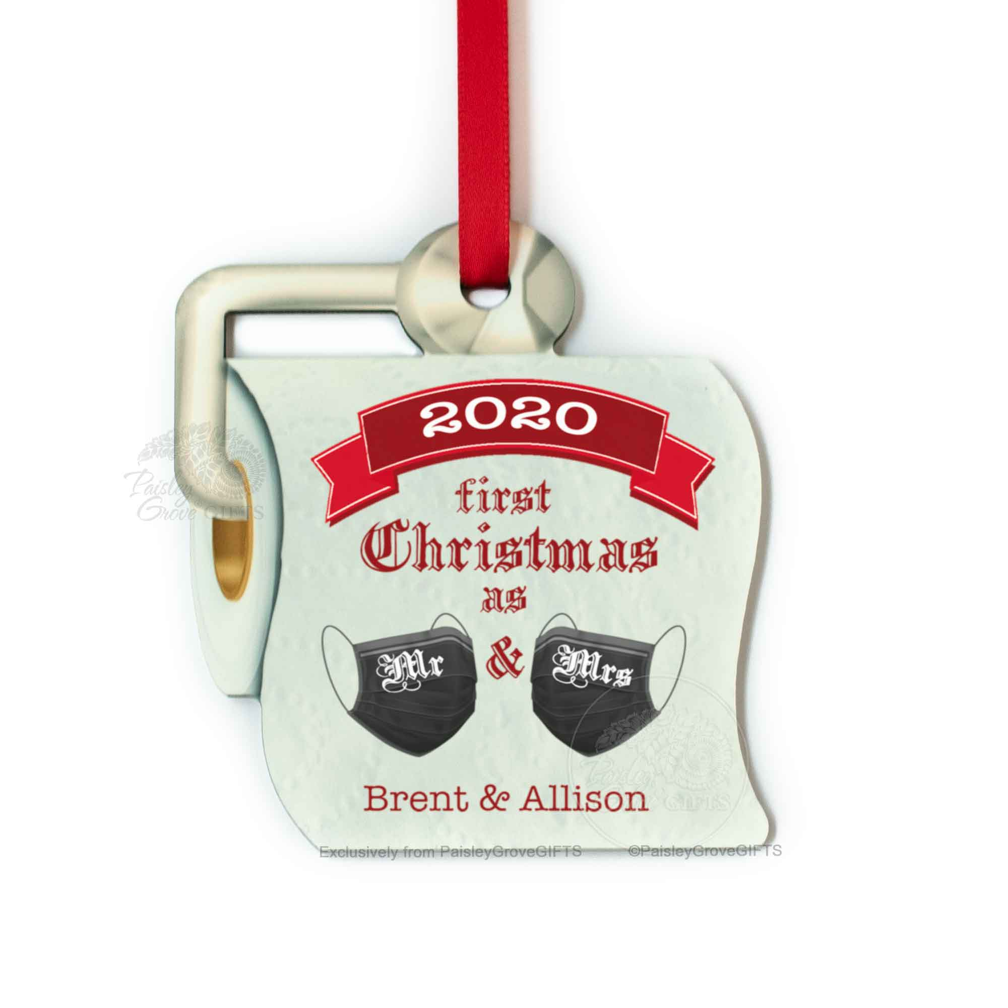 Copyright PaisleyGroveGIFTS S525f2 First Christmas as Mr and Mrs Funny Toilet Paper Christmas Ornament
