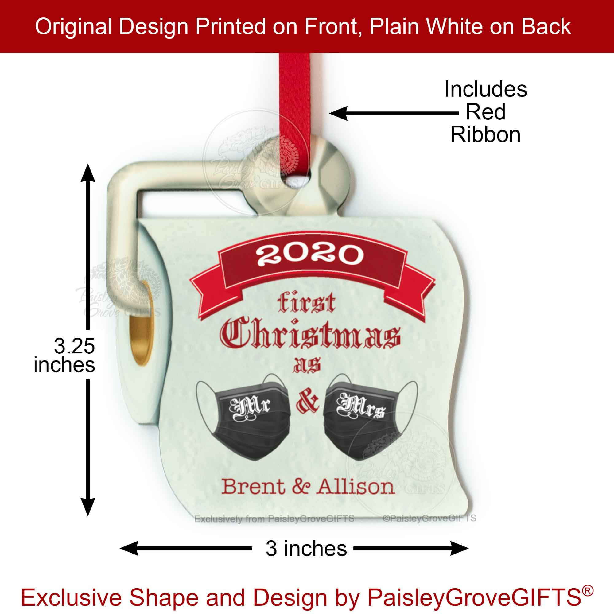 CopyrightPaisleyGroveGIFTS S525f2 3.25 x 3 inches First Christmas Married Toilet Paper Ornament 2020