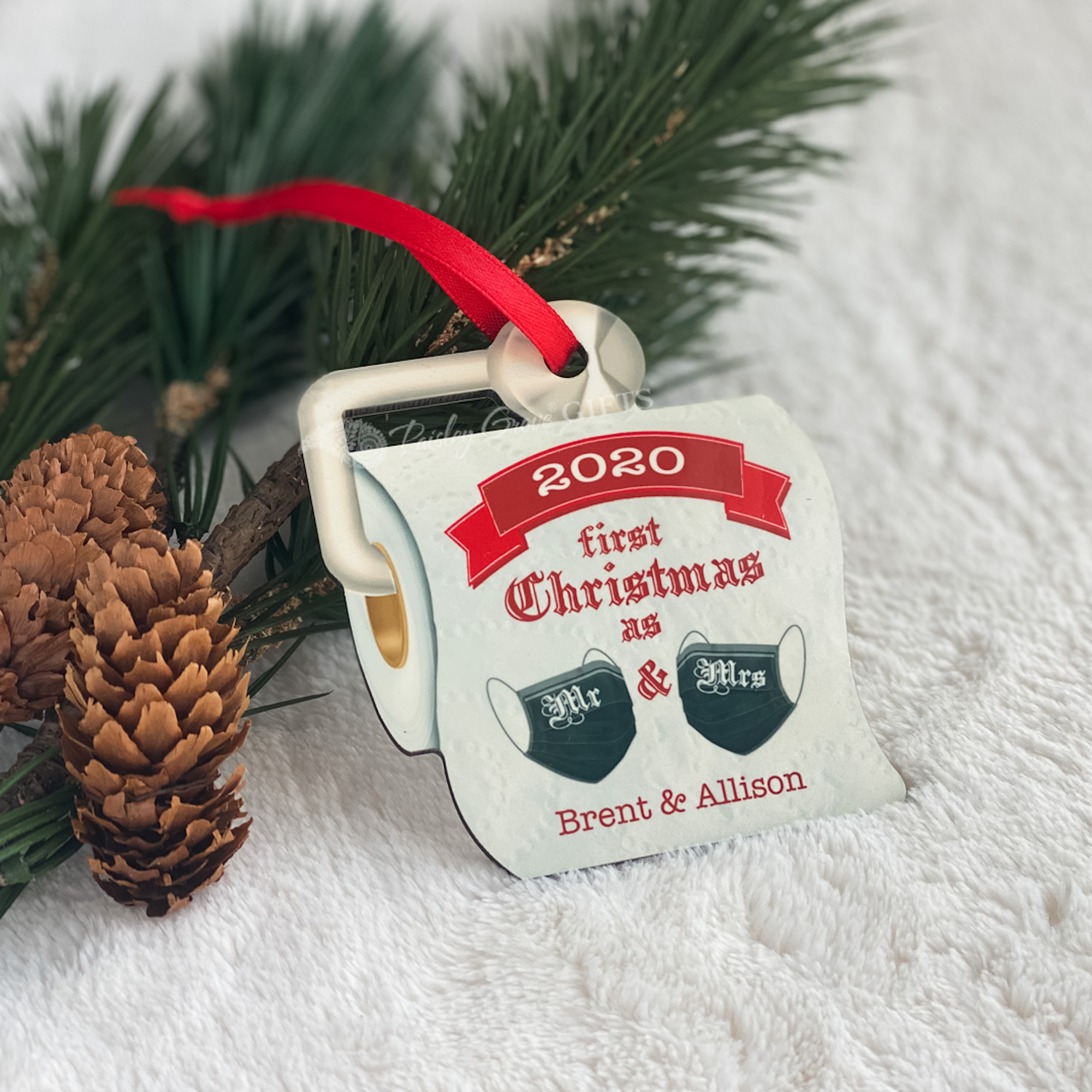 CopyrightPaisleyGroveGIFTS S525f2 Unique Christmas Ornament 2020 Quarantined Wedding