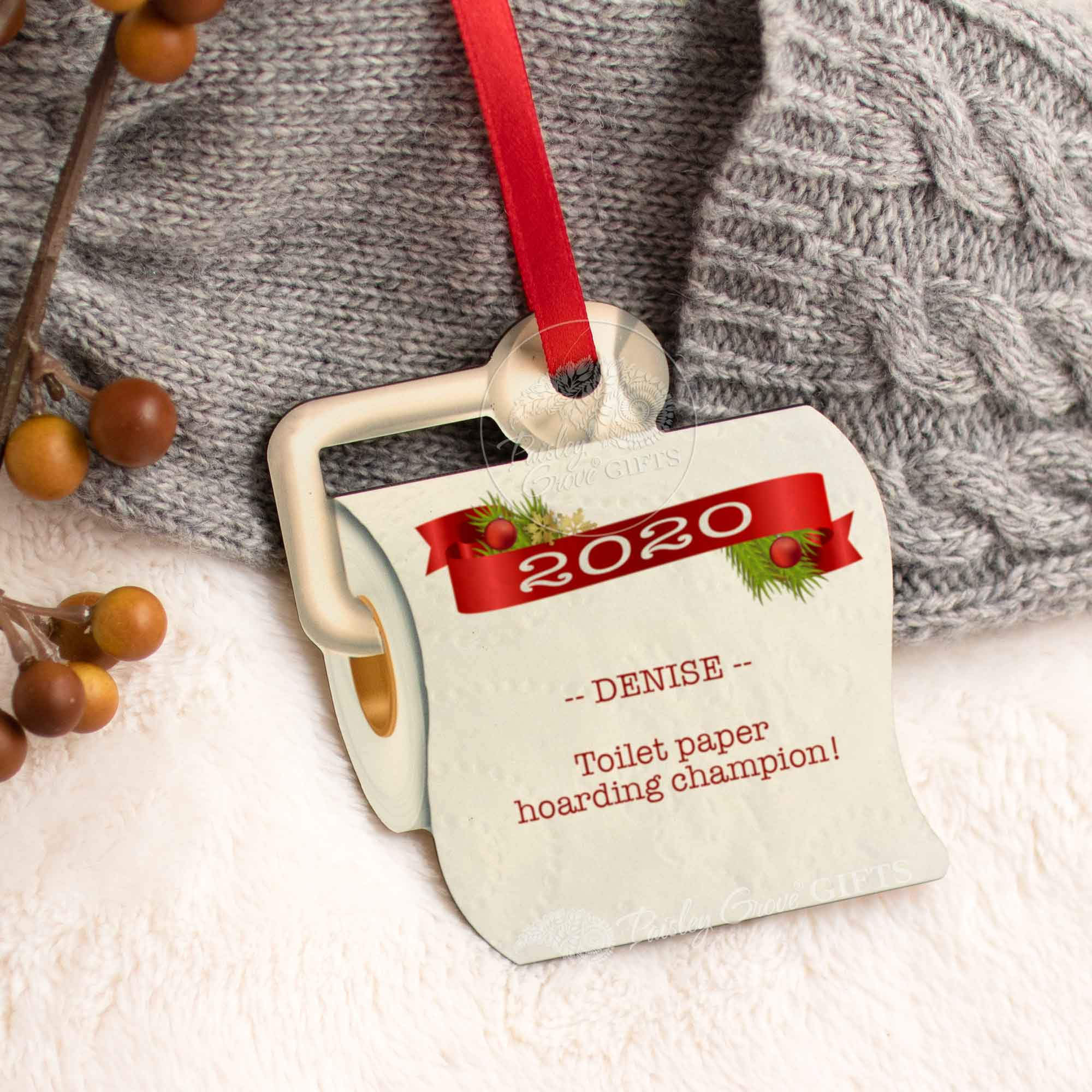CopyrightPaisleyGroveGIFTS S525p Unique TP Christmas Ornament 2020 Quarantined Christmas Gift Customized