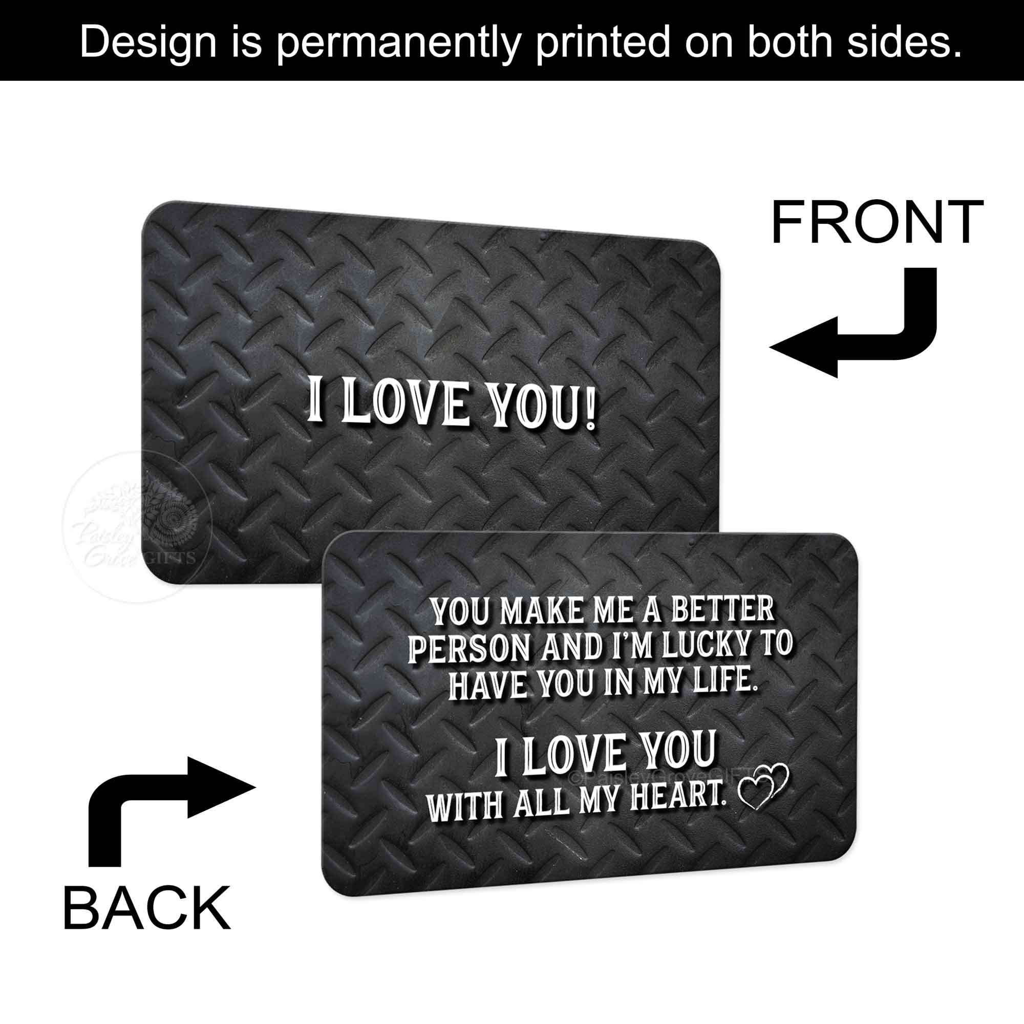 Copyright PaisleyGroveGIFTS S600a1 Permanent print on both sides of this metal wallet insert card for men