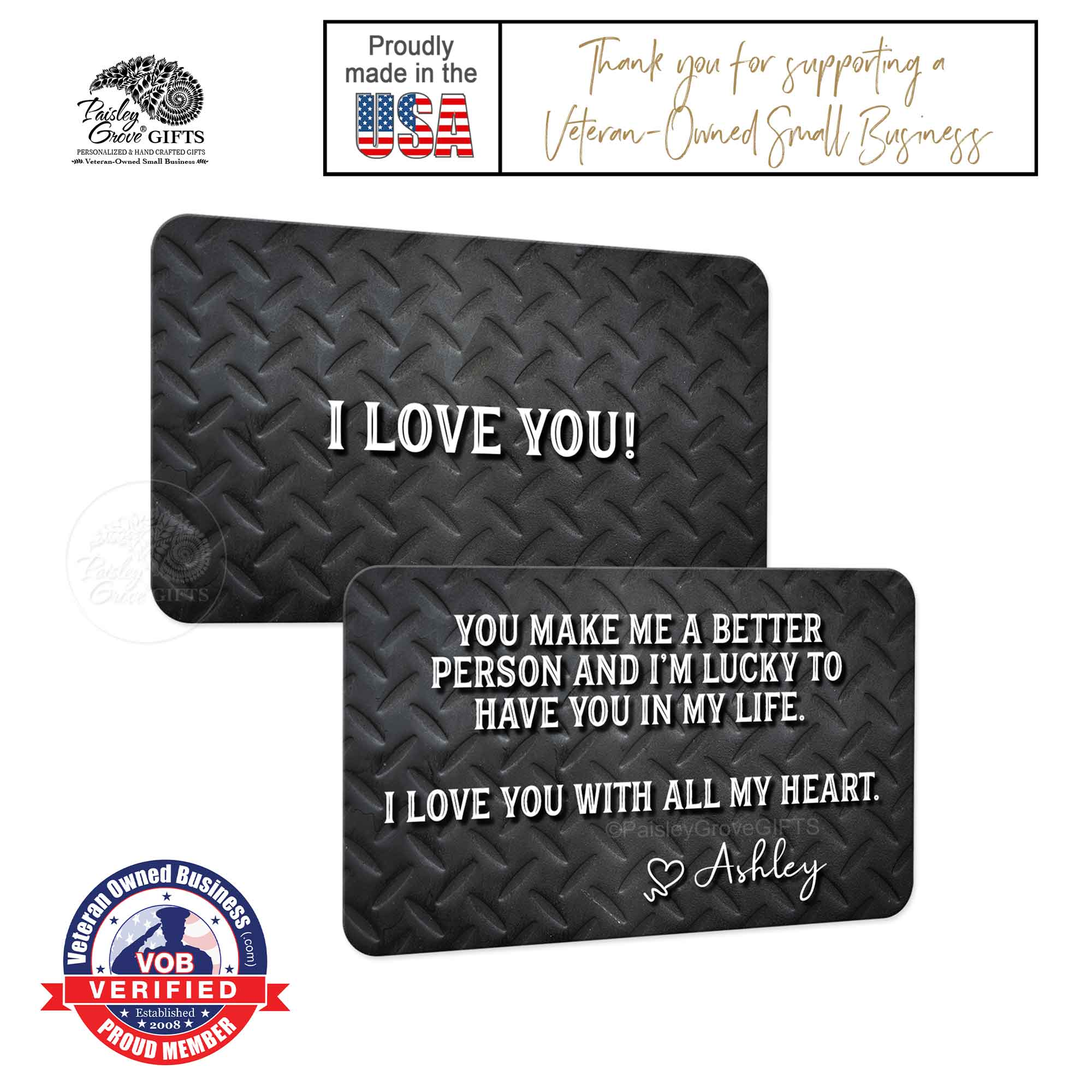 Copyright PaisleyGroveGIFTS S600a2 Romantic Gift for Husband is made in the usa by a Veteran Owned Small Business