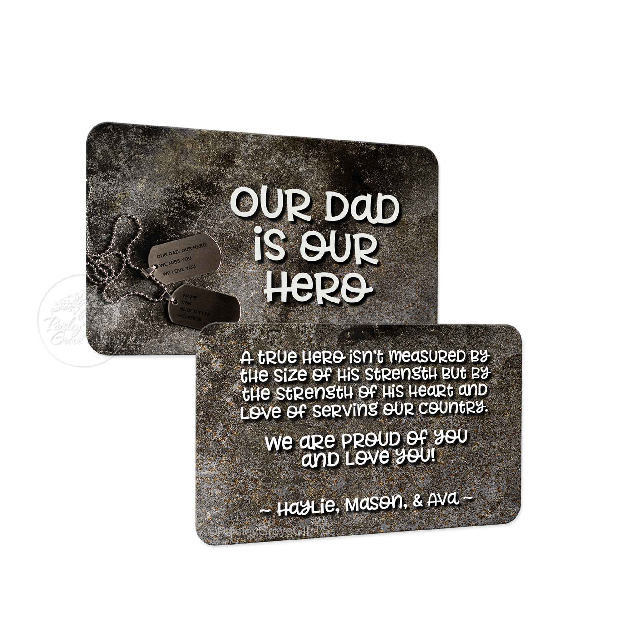 Copyright PaisleyGroveGIFTS S601a2 Personalized Metal Wallet Card Insert for Military Dad