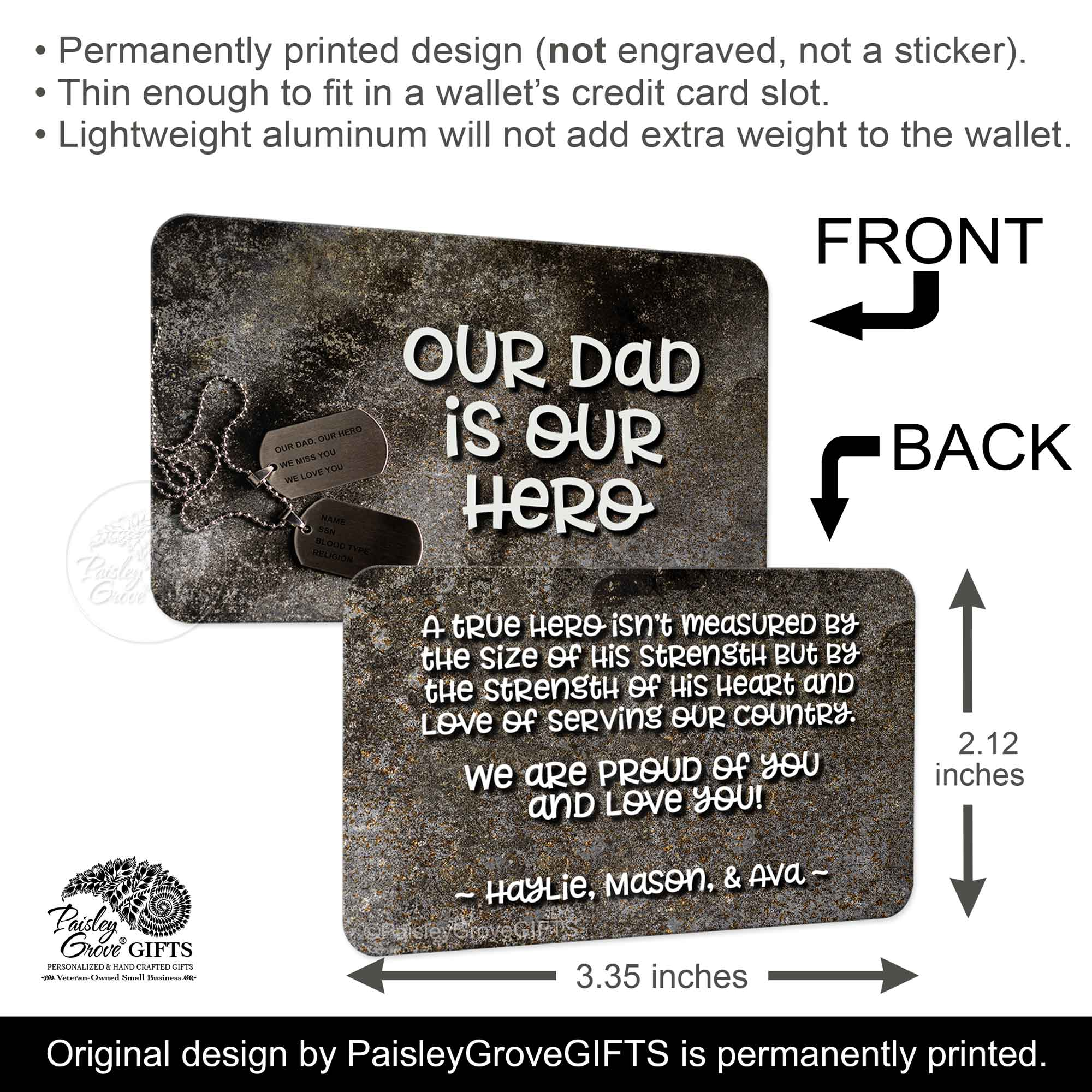 CopyrightPaisleyGroveGIFTS S601a2 Infographics 2.12 x 3.35 inches wallet insert card for active duty and retired military