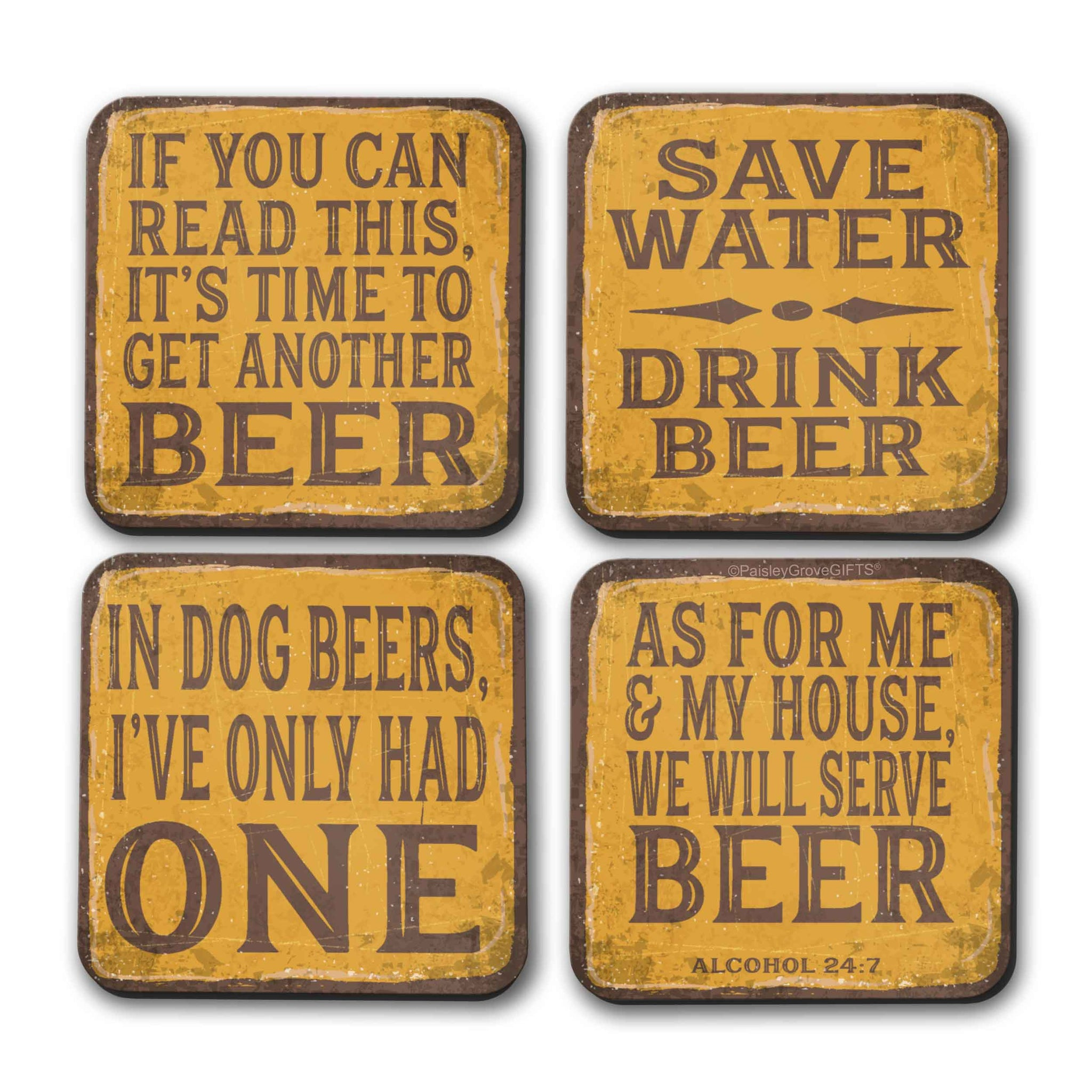 CopyrightPaisleyGroveGIFTS S700adgh Vintage Inspired Yellow and Brown Funny Drink Coasters Set with Beer Theme