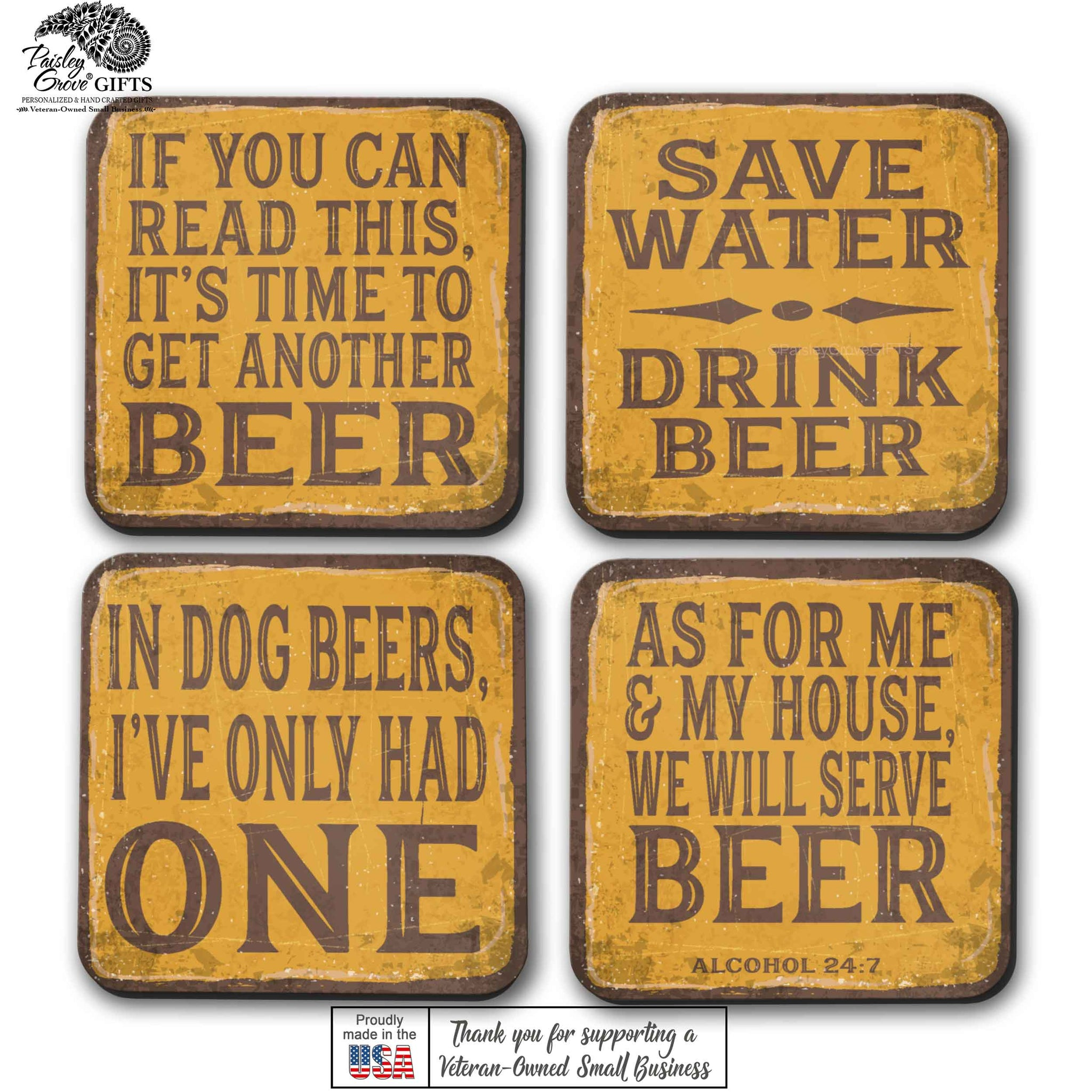 CopyrightPaisleyGroveGIFTS S700adgh funny beer coasters set for him are made in the USA