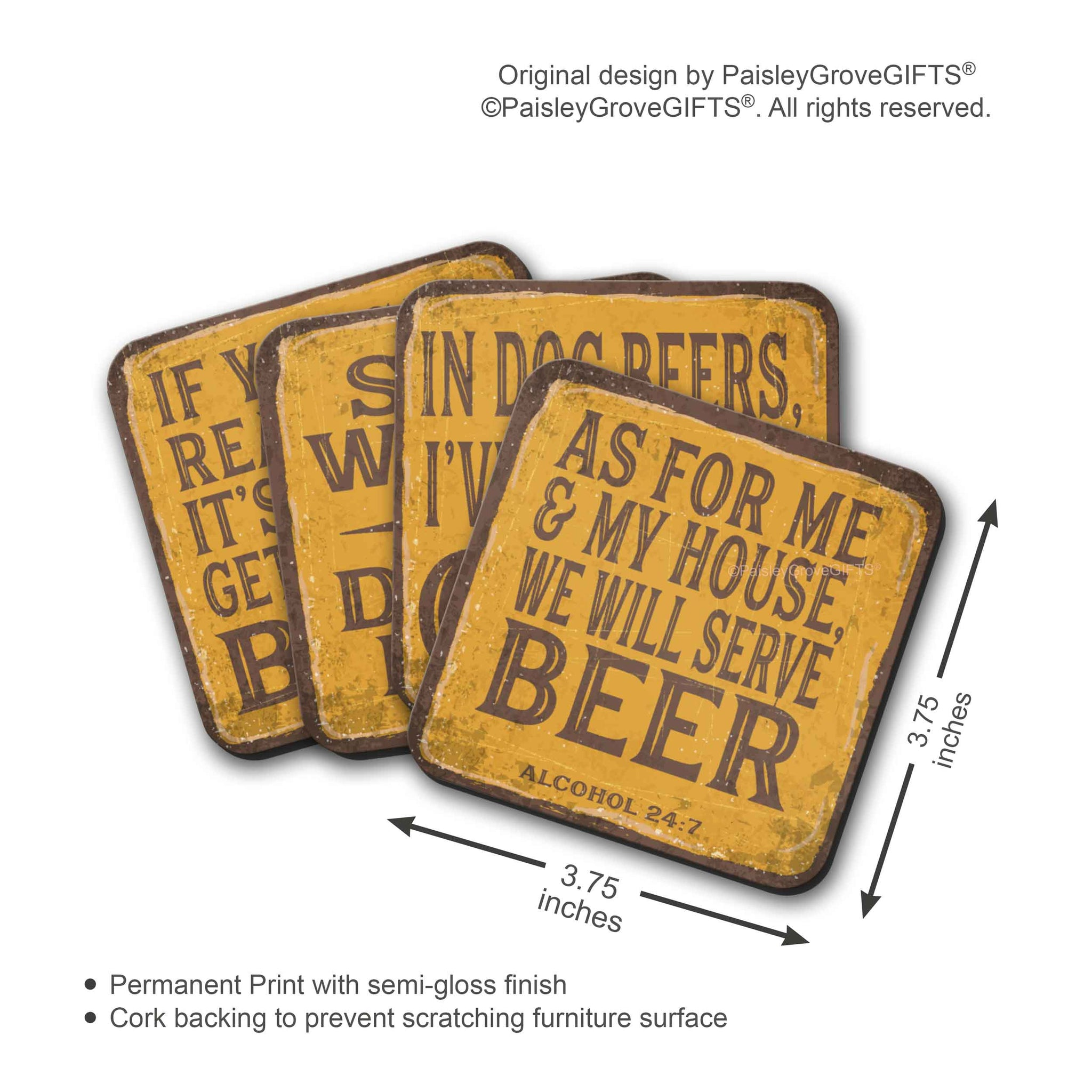 CopyrightPaisleyGroveGIFTS S700adgh Measurement and Detailed Information for Beer and  Drink Coasters for Beer Lovers