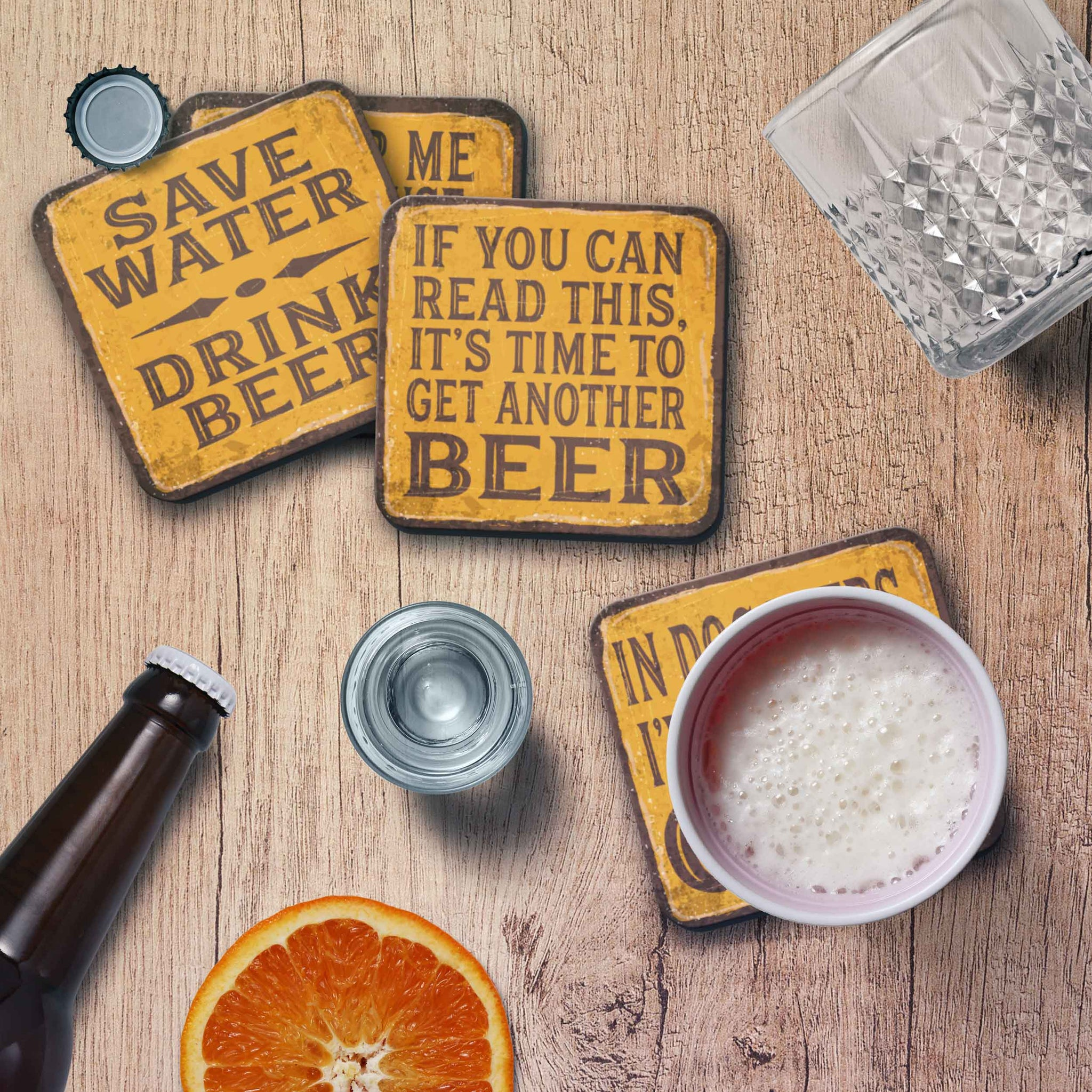 CopyrightPaisleyGroveGIFTS Set of 4 Funny Coasters for Beer Lovers with Beer Quotes on Vintage yellow design
