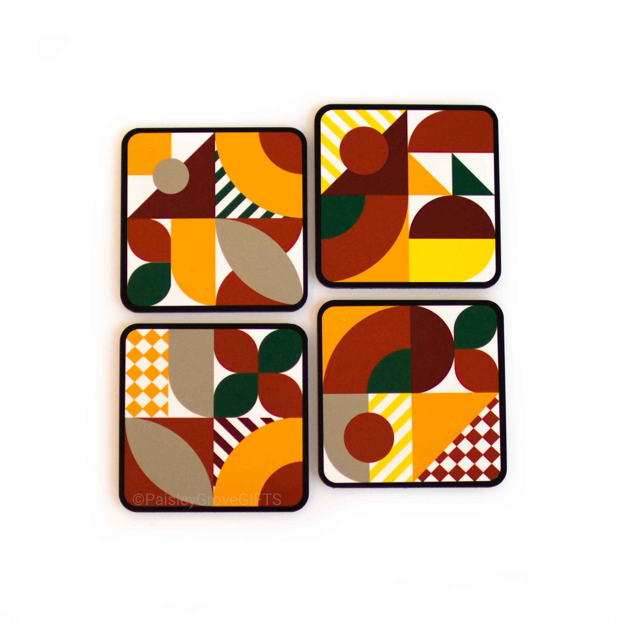 CopyrightPaisleyGroveGIFTS S701abcd Maximalist Abstract Bold Colors Burnt Orange Drink Coasters Set
