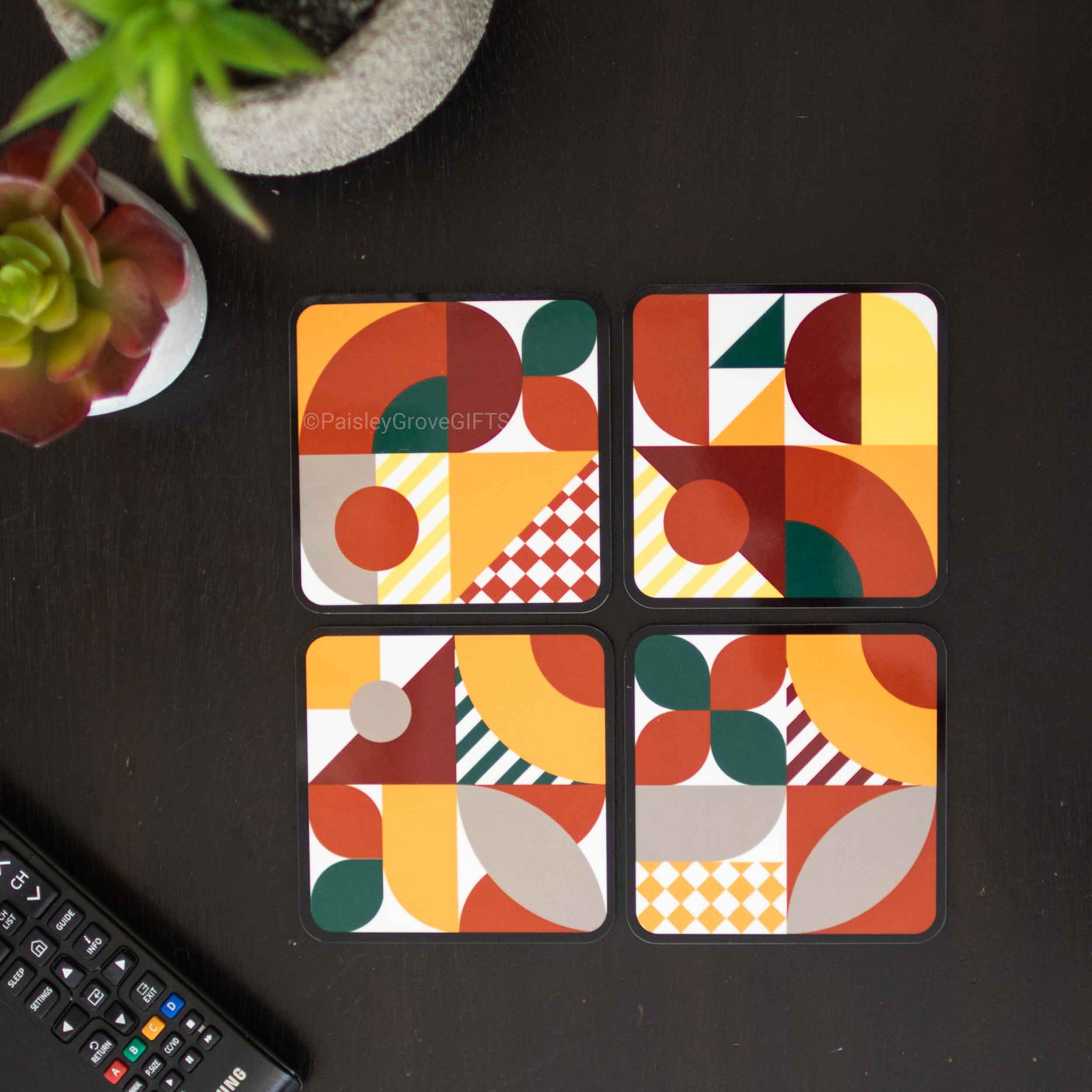 CopyrightPaisleyGroveGIFTS S701abcd Cork Coasters Table Protector Modern Maximalist Style Burnt Orange Mustard Yellow