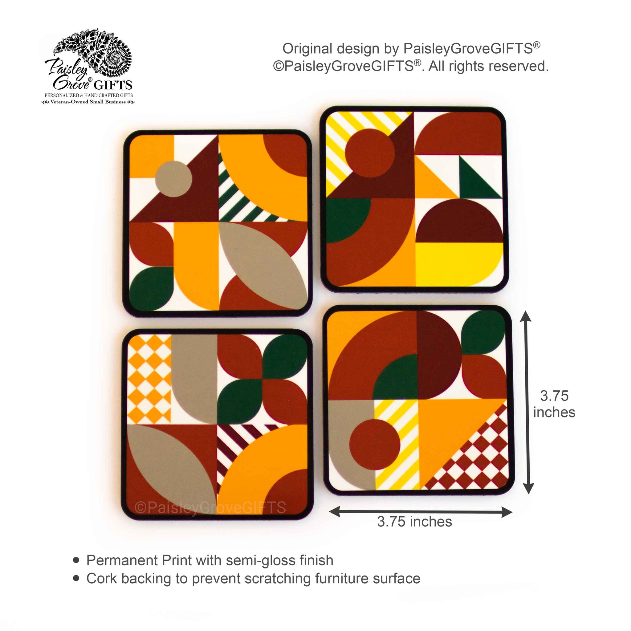 CopyrightPaisleyGroveGIFTS S701abcd Measurement and Detailed Information on Drink Coasters Modern Abstract Maximalist Style