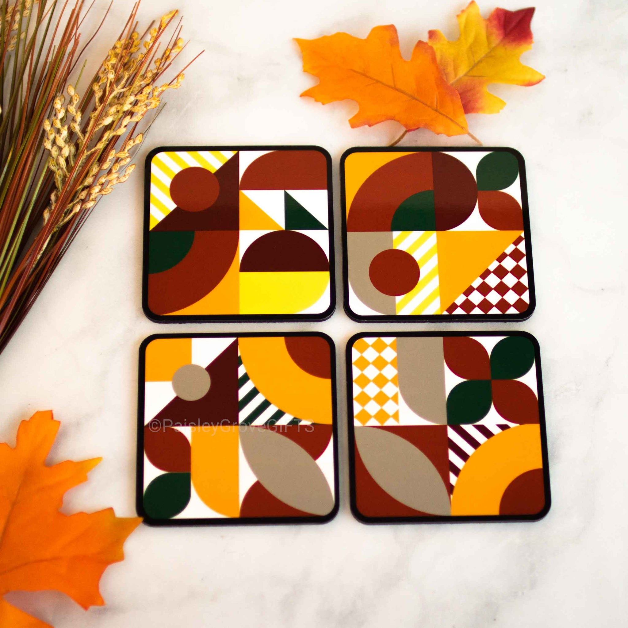 CopyrightPaisleyGroveGIFTS S701abcd Fall Home Decor Autumn Decoration Drink Coasters Maximalist Modern Home Abstract Design