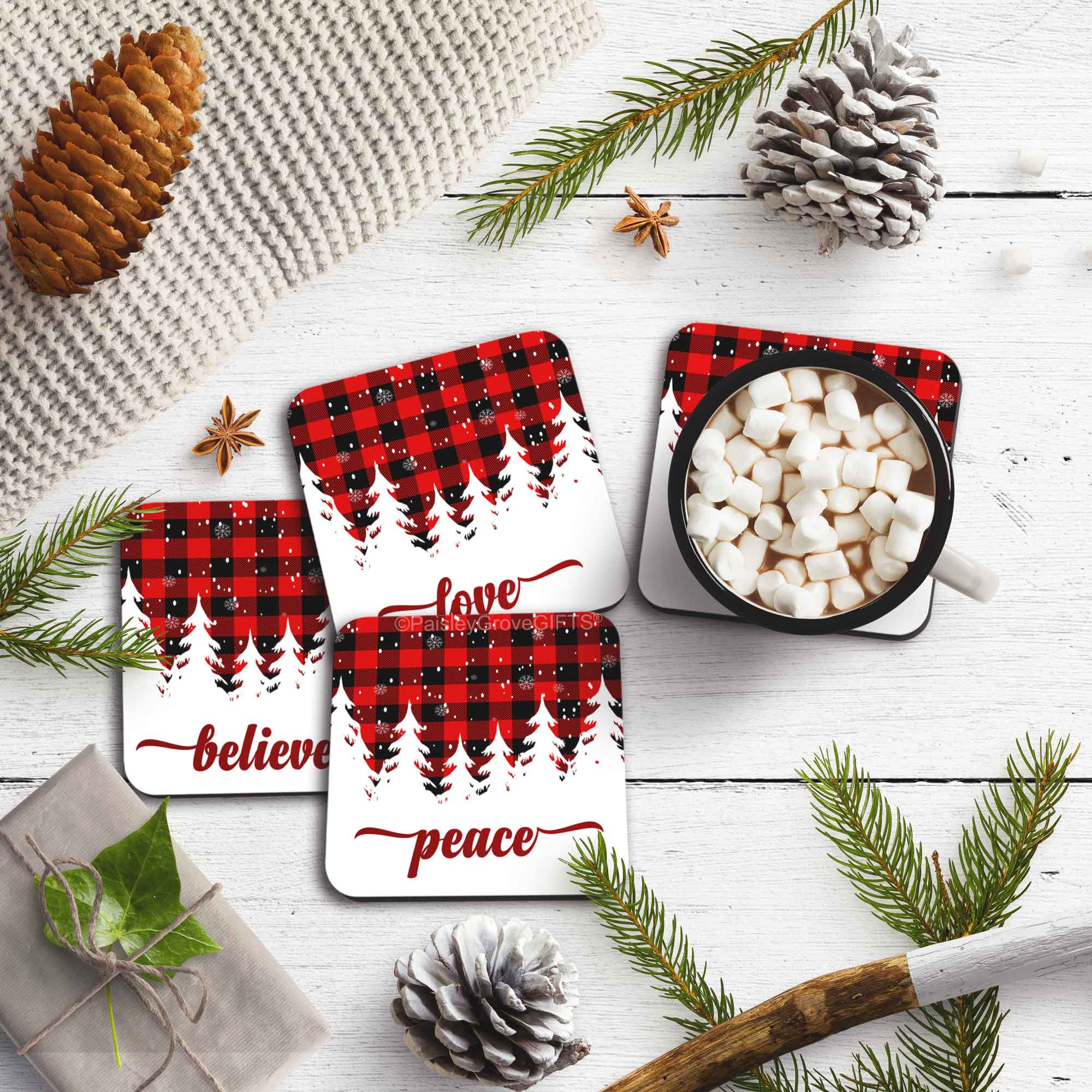 CopyrightPaisleyGroveGIFTS S704a Coasters with Cork backing  Modern Farmhouse Black and Red Buffalo Plaid Christmas