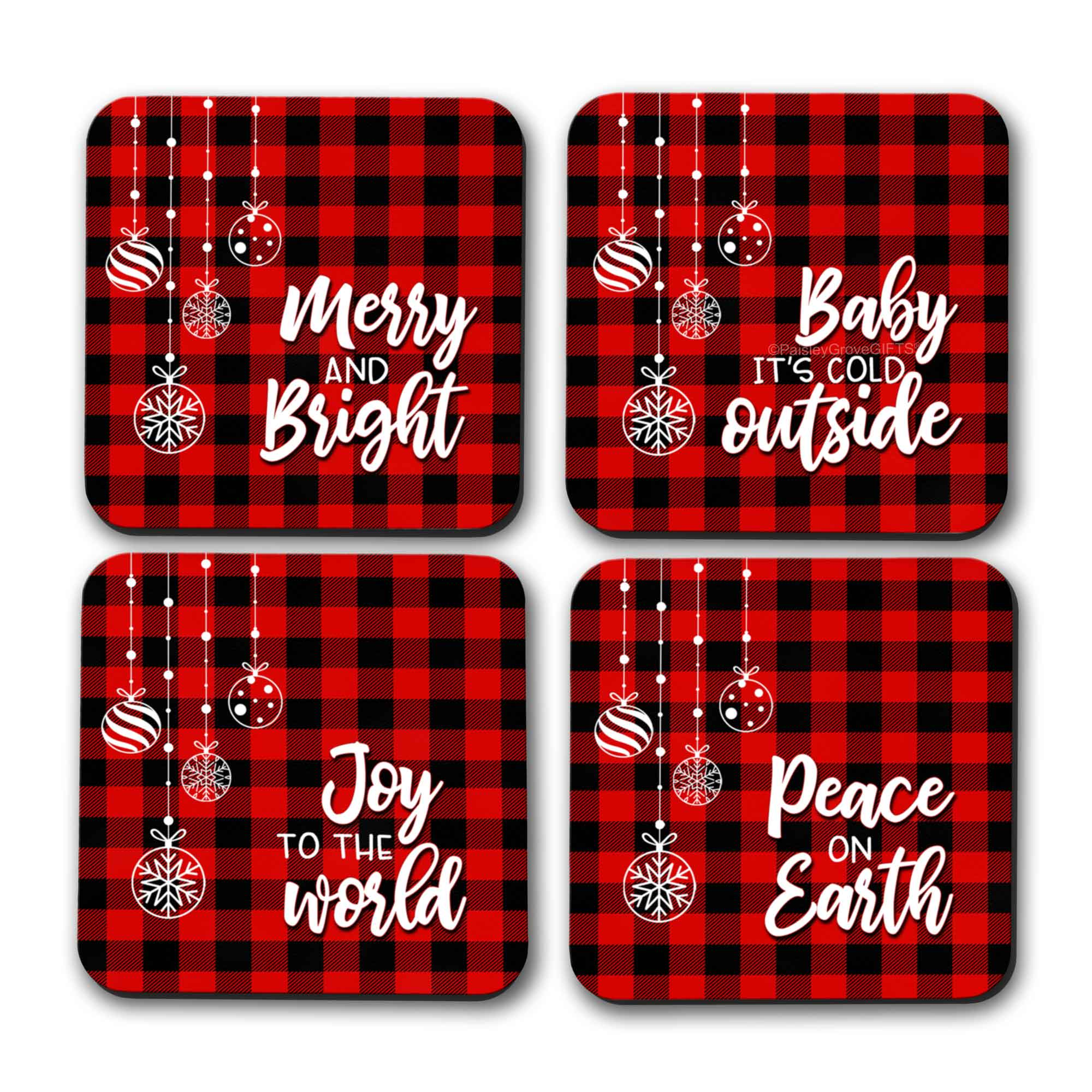 CopyrightPaisleyGroveGIFTS S704b Merry and Bright Holiday Coasters with Red and Black Buffalo Plaid Design
