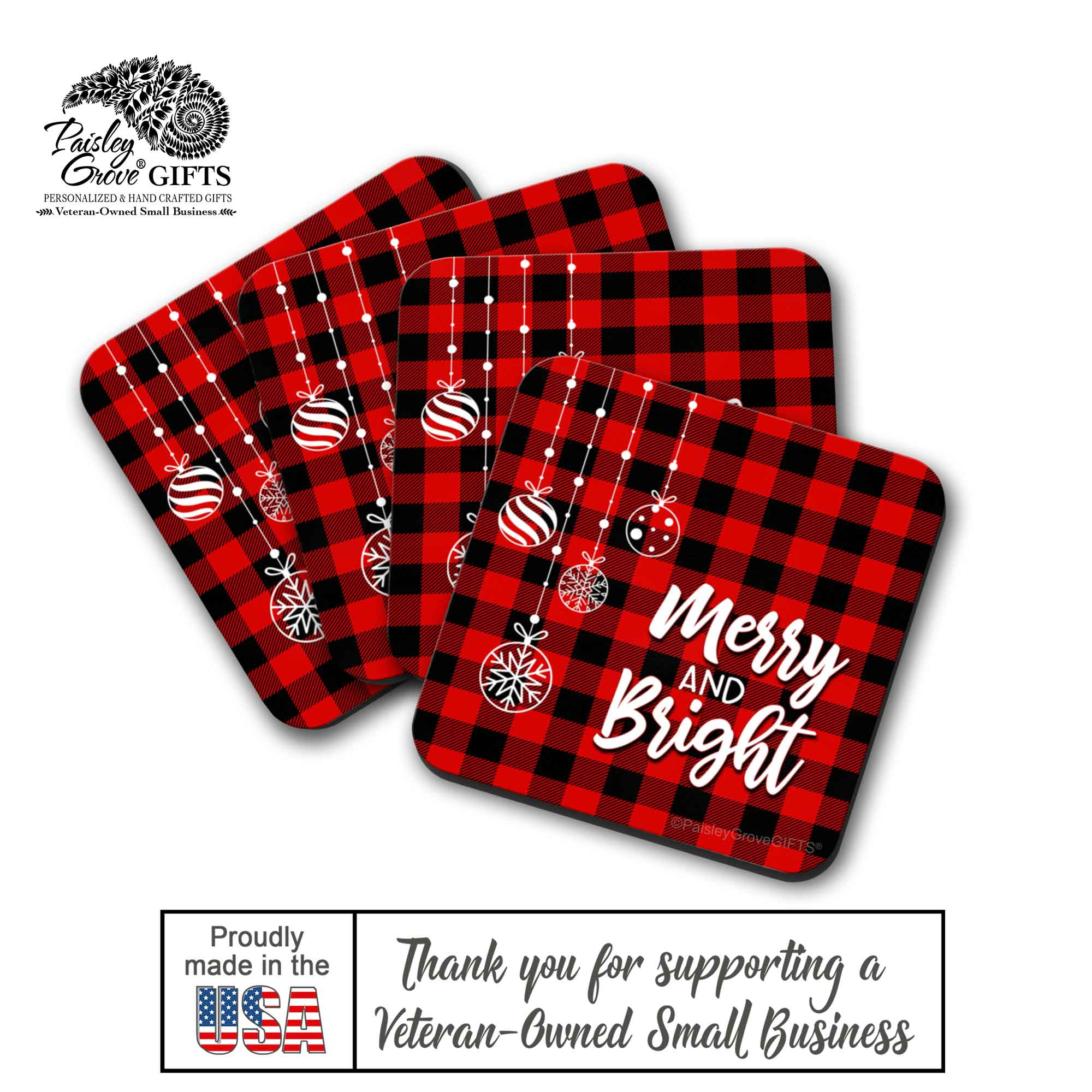 CopyrightPaisleyGroveGIFTS S704b Quality Drink Coasters for Christmas Made In the USA by a Military Veteran