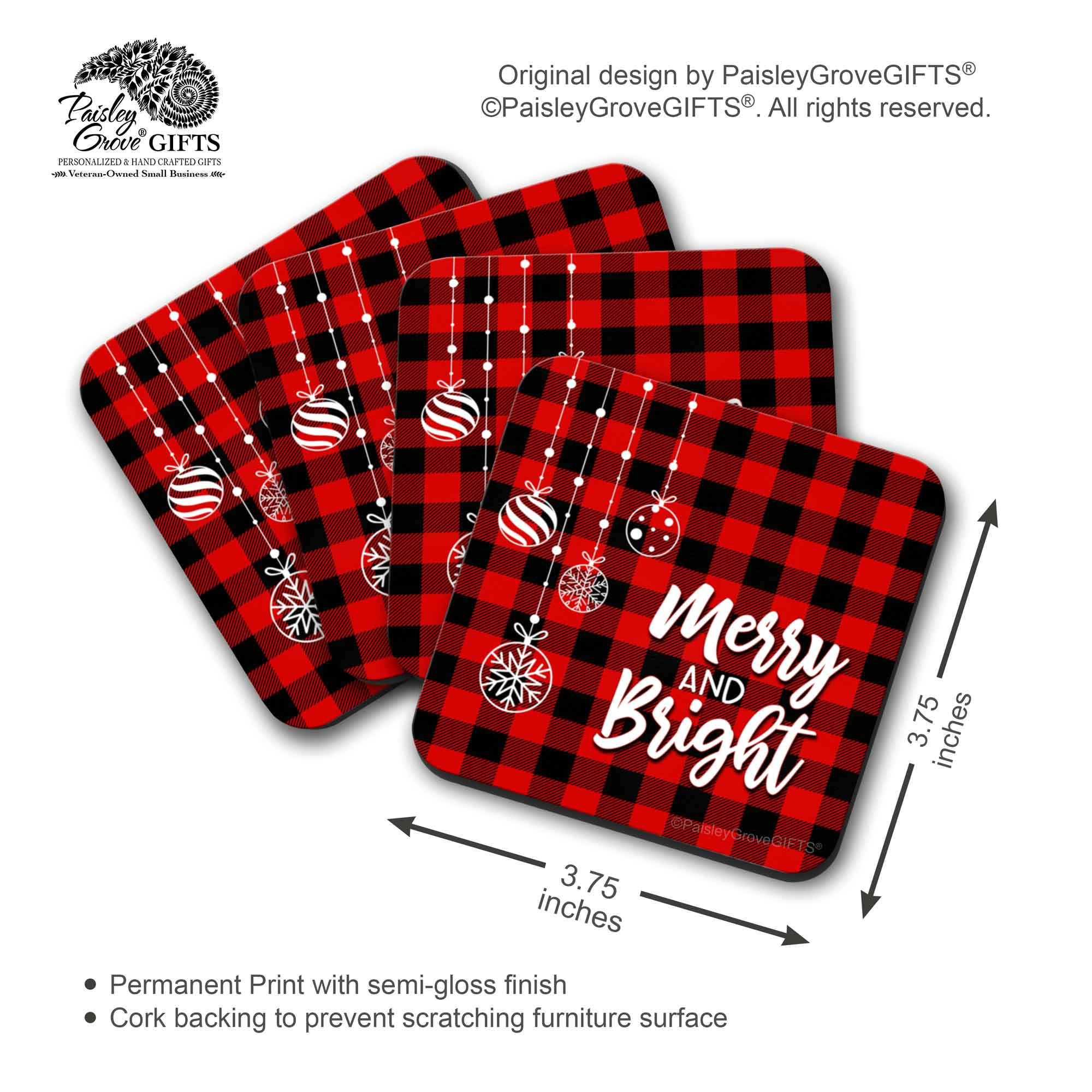 CopyrightPaisleyGroveGIFTS S704b Measurement Information for Christmas Buffalo Check Coasters Baby It's Cold Outside