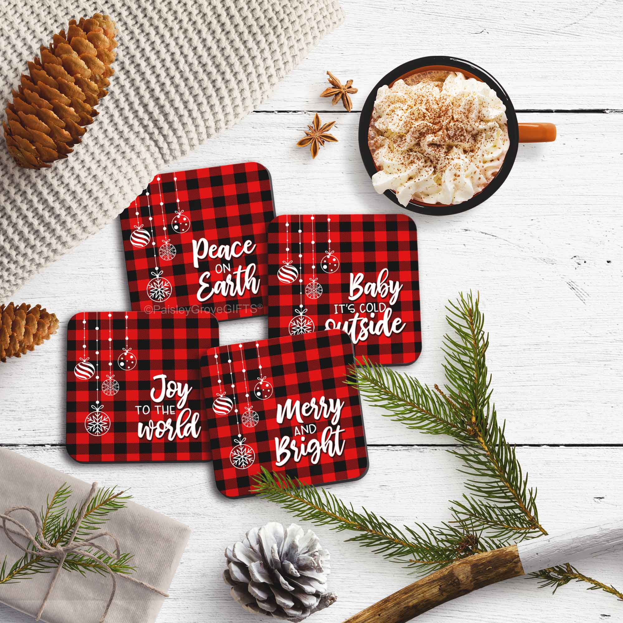 CopyrightPaisleyGroveGIFTS S704b Set of 4 Holiday Decor Coasters with Cork Backing Table Protection Buffalo Plaid Checkers