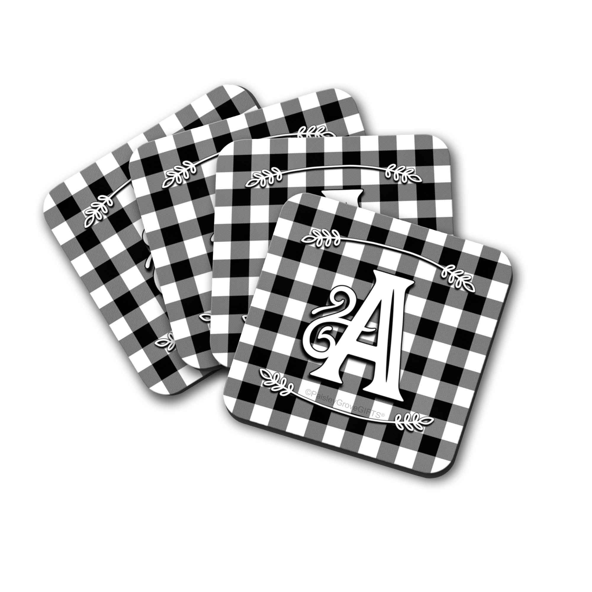 CopyrightPaisleyGroveGIFTS S704d Personalized Holiday Coasters with Black and white Buffalo Plaid Design