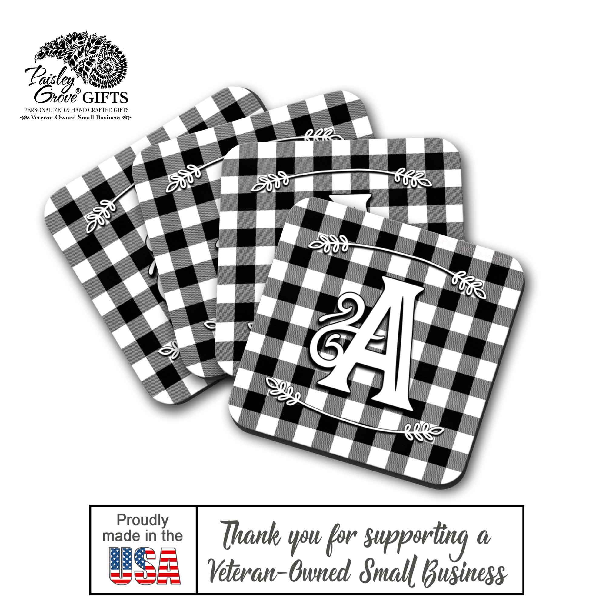 CopyrightPaisleyGroveGIFTS S704d Quality Drink Coasters for Christmas Made In the USA by a Military Veteran