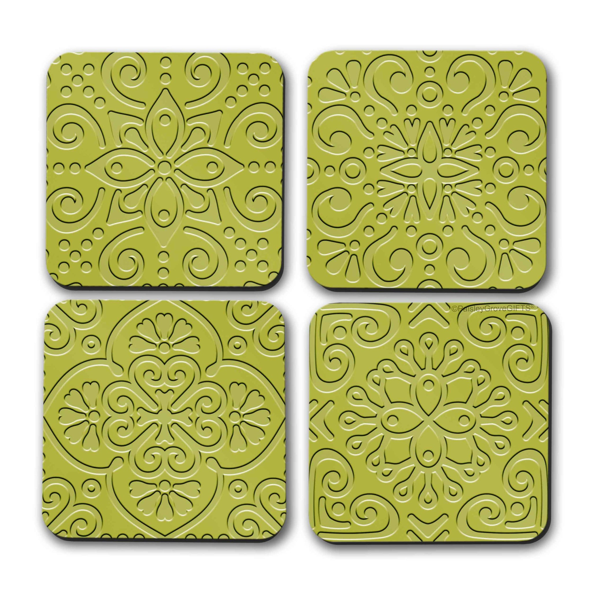 CopyrightPaisleyGroveGIFTS S706b Chartreuse Drink Coasters set of 4 Bold Neon Green Home Decor