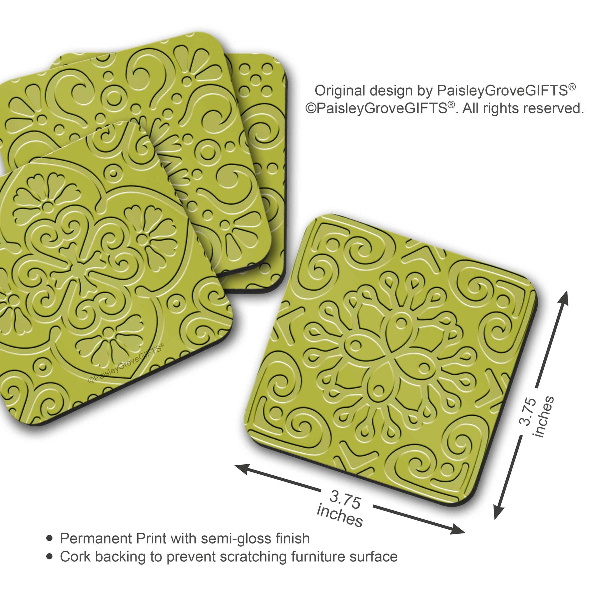 CopyrightPaisleyGroveGIFTS S706b Measurement Information Modern Chartreuse Drink Coasters Housewarming Gift Ideas