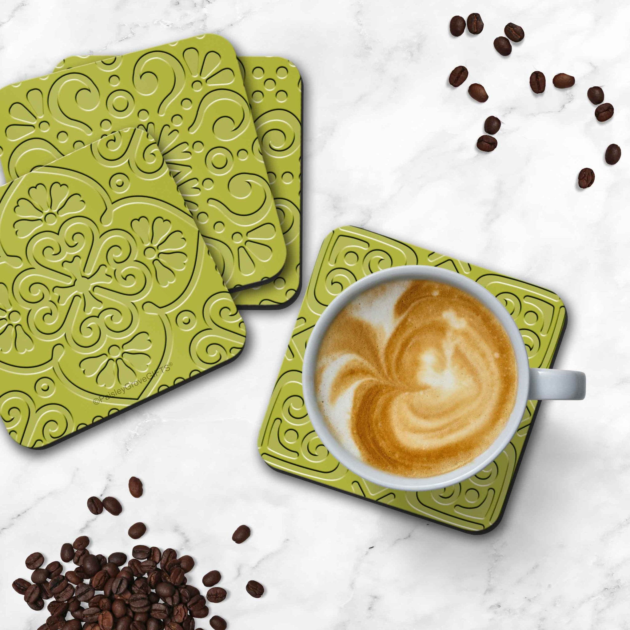 CopyrightPaisleyGroveGIFTS S706b Set of 4 Modern Decor Coasters with Cork Backing Table Protection Bright Green Colors