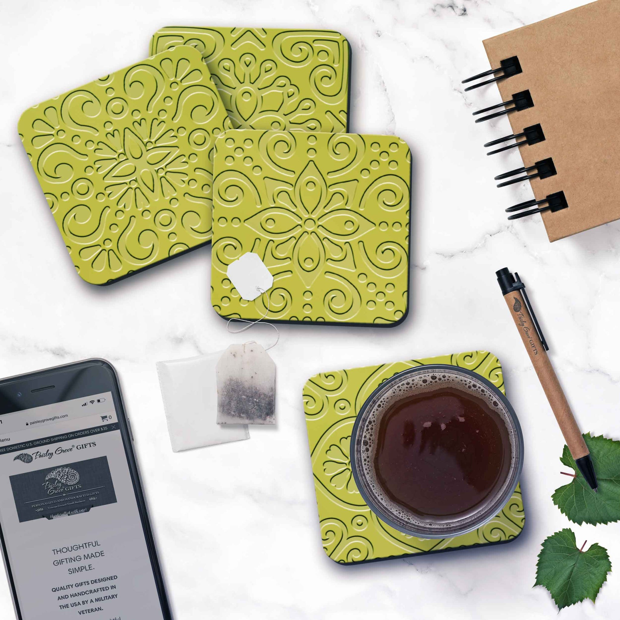 CopyrightPaisleyGroveGIFTS S706b Coasters with Cork backing table protection Modern Decoration in Trendy Chartreuse