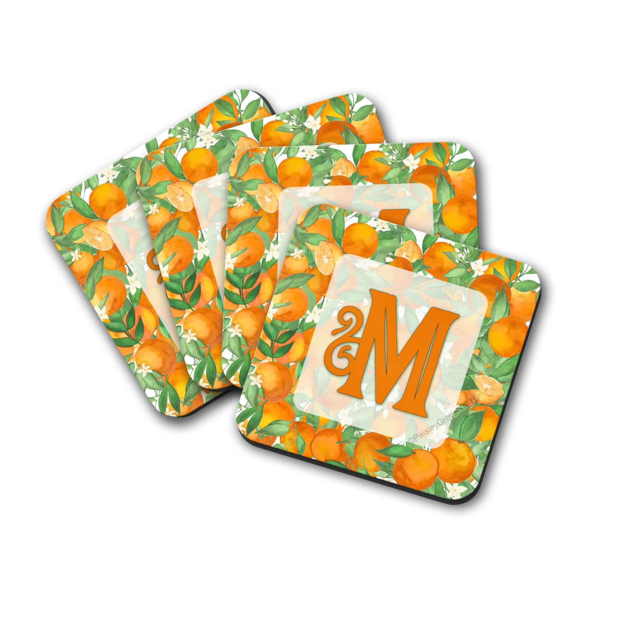 Copyright PaisleyGroveGIFTS S711a Personalized Drink Coasters with Oranges