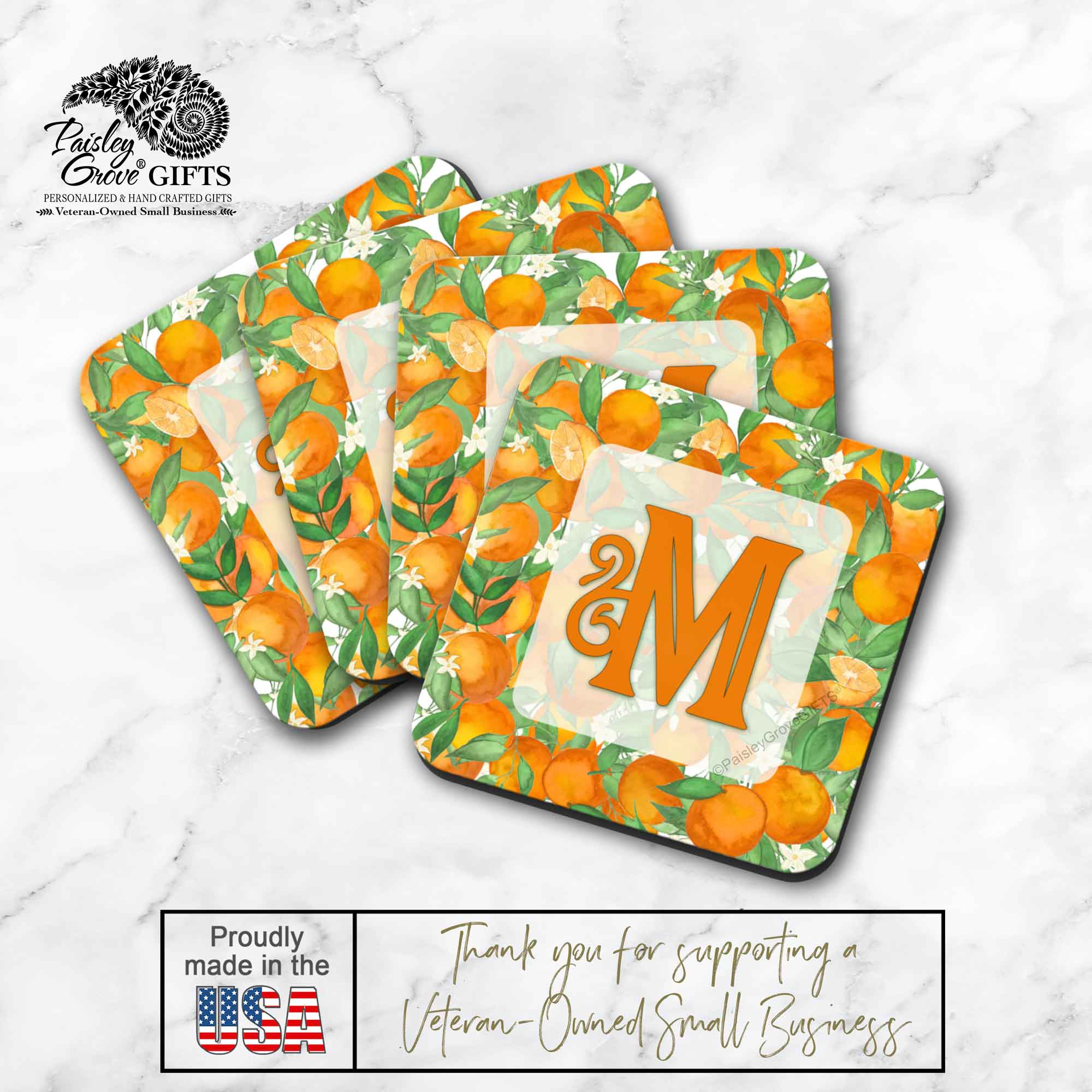 Copyright PaisleyGroveGIFTS S711a Custom Drink Coasters are made in the USA