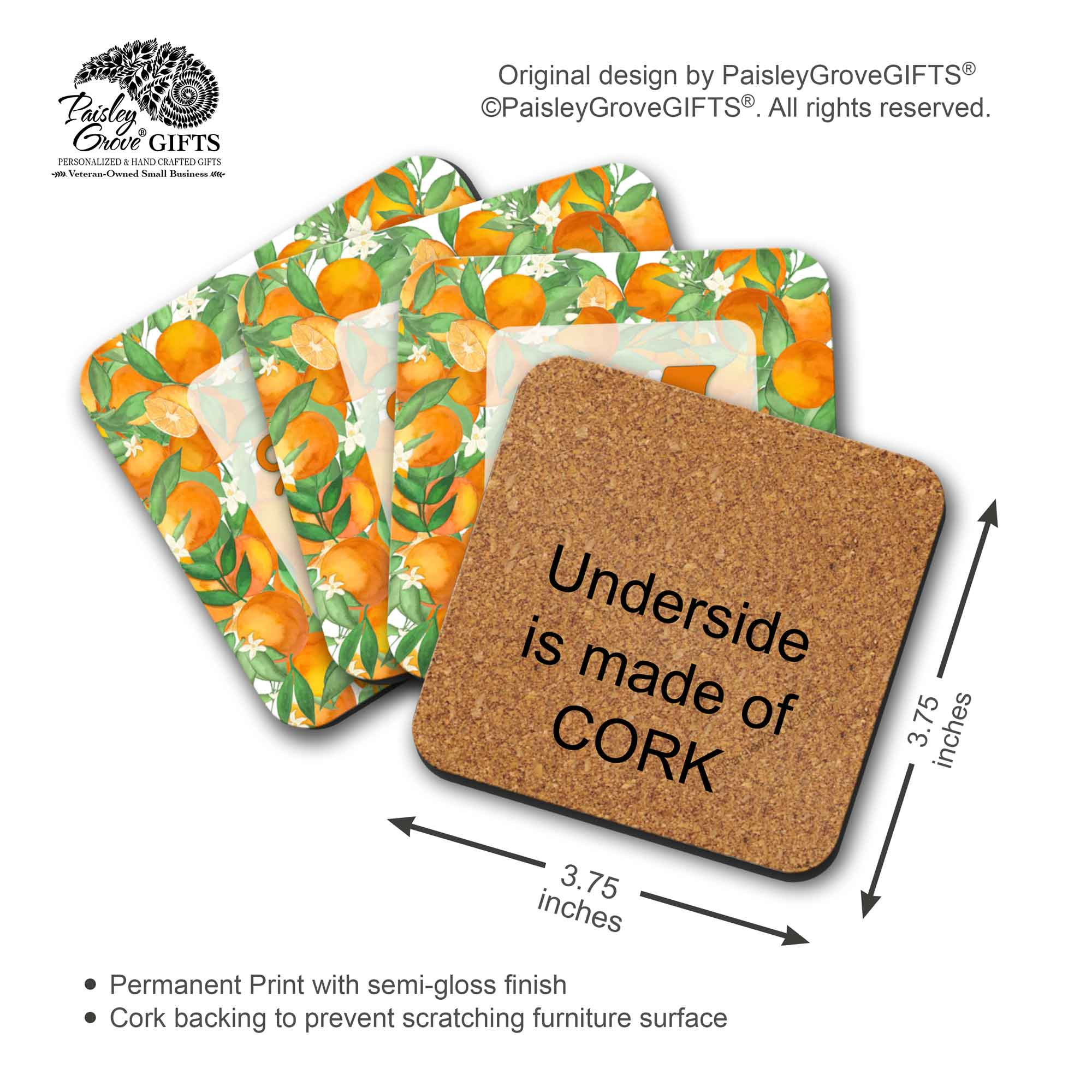 Copyright PaisleyGroveGIFTS S711a Measurement Information for Monogrammed Drink Coasters with Orange Fruit Design for  Housewarming Gift