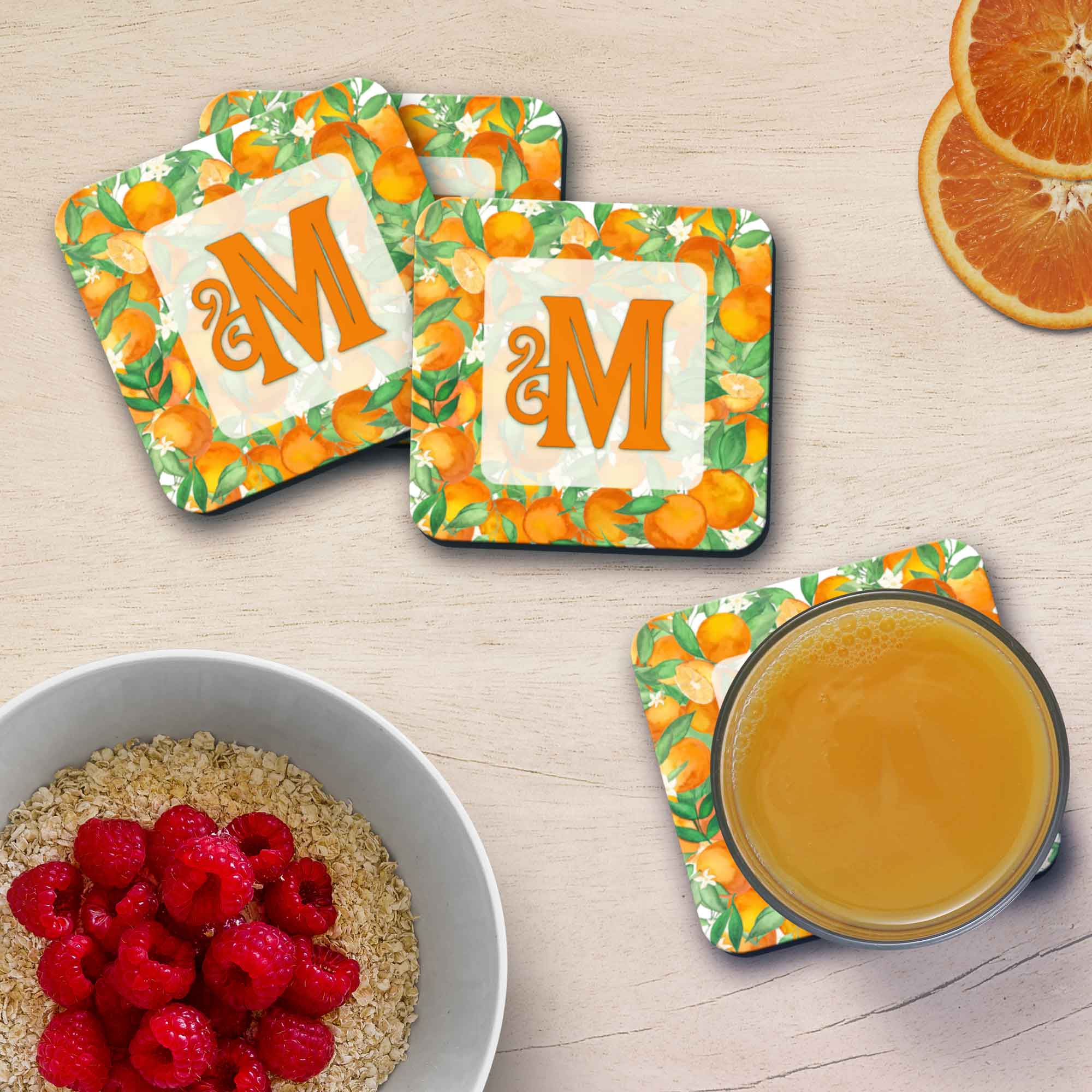 Copyright PaisleyGroveGIFTS S711a Set of 4 Redlands California Oranges Home Decor Coasters with Cork Backing Custom Gift