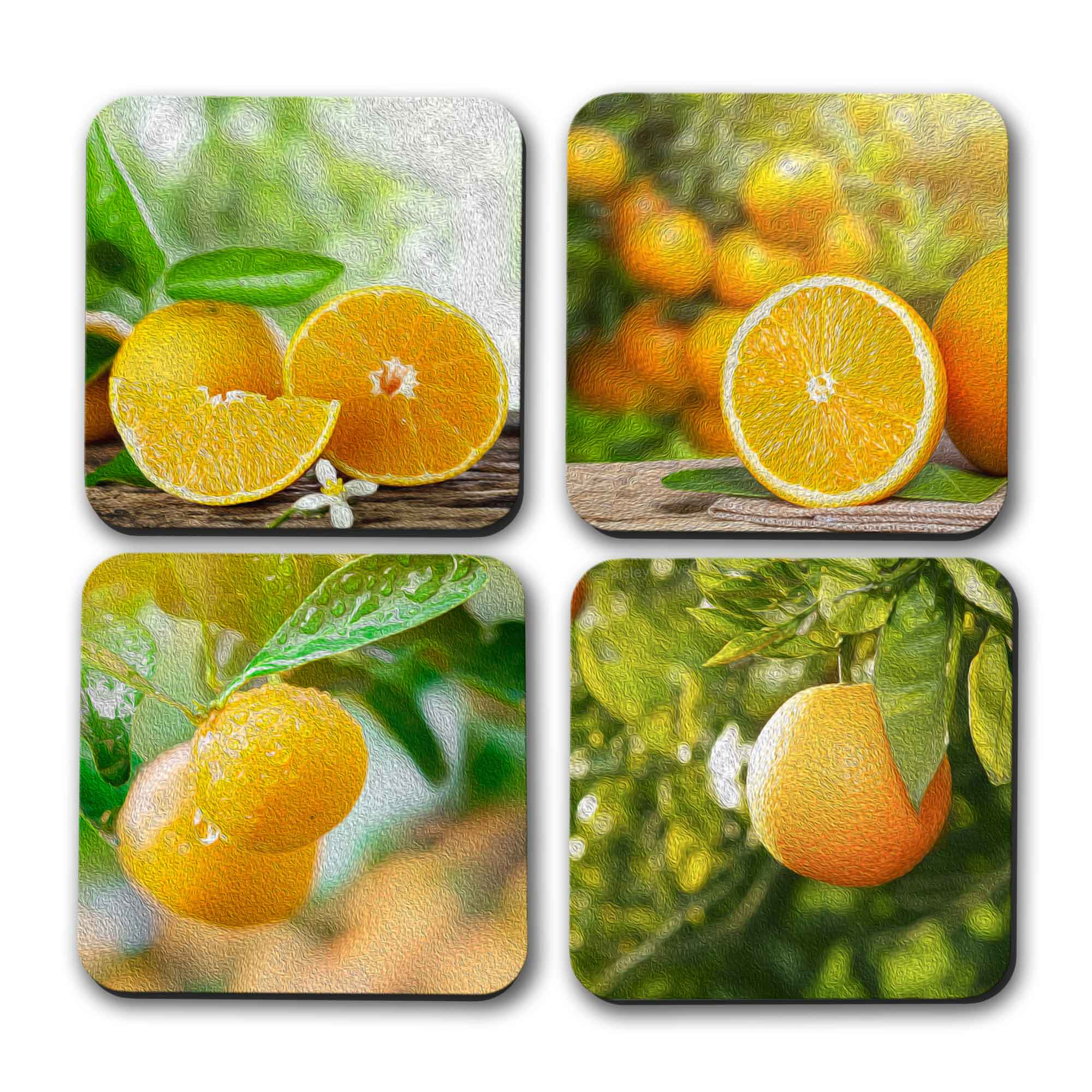 Copyright PaisleyGroveGIFTS S707b Drink Coasters Set with Oil painted orange art