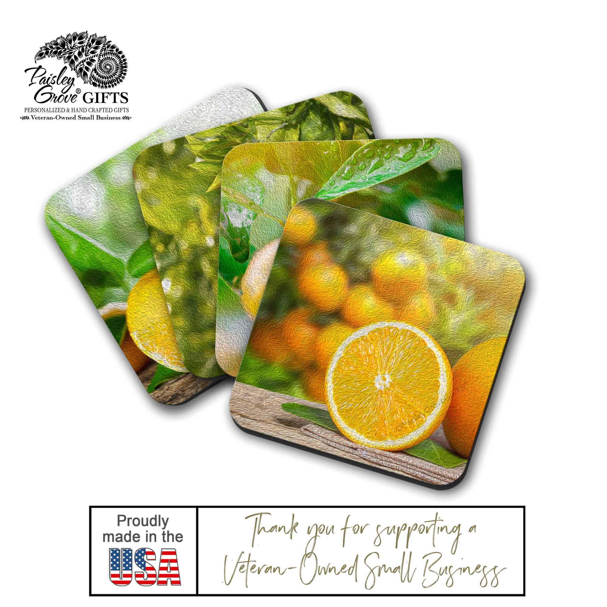 Copyright PaisleyGroveGIFTS S707b Made in the USA Oil Painting Art of Oranges Drink Coasters