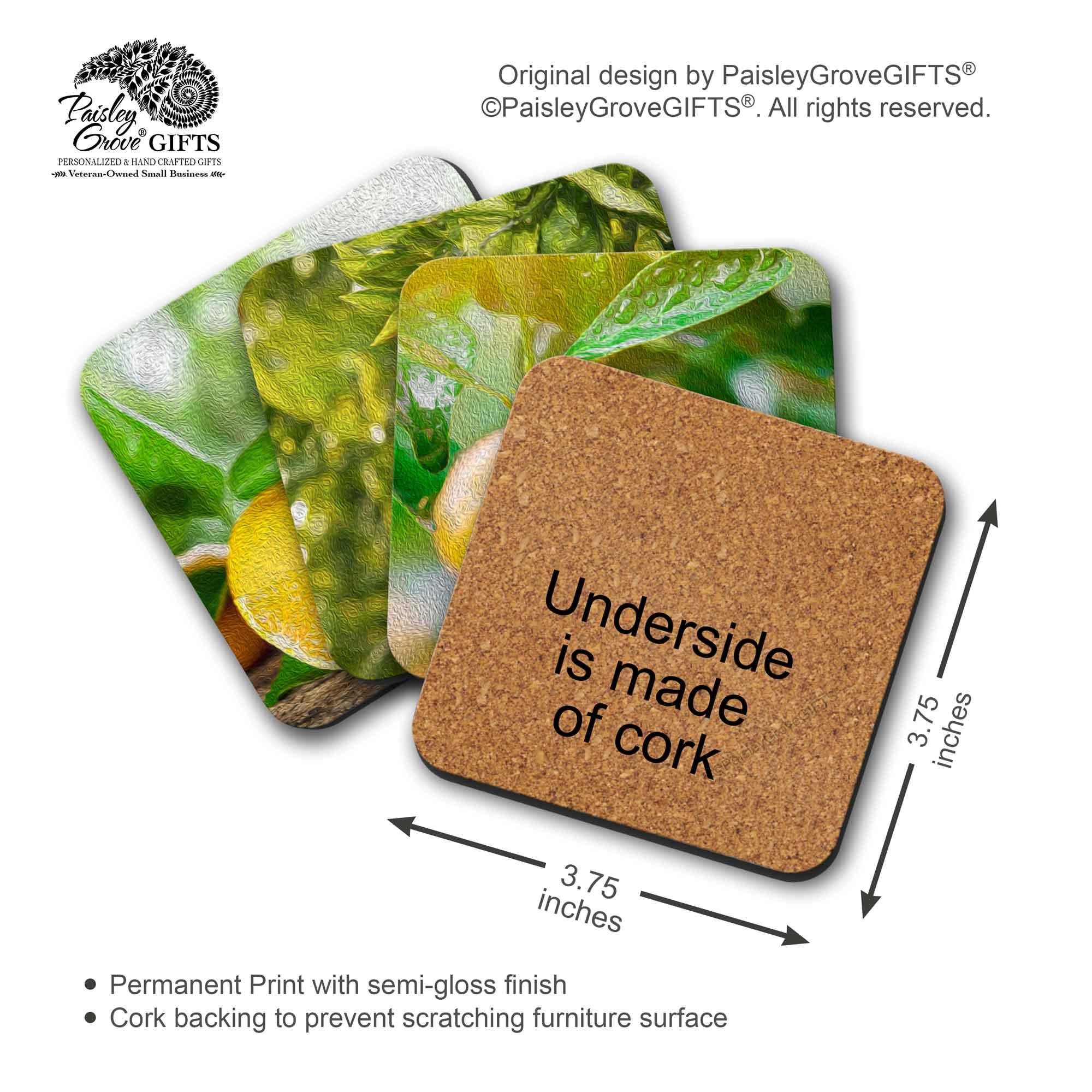 Copyright PaisleyGroveGIFTS S707b Measurement Information for Oil Painting Oranges on Coasters with Cork backing