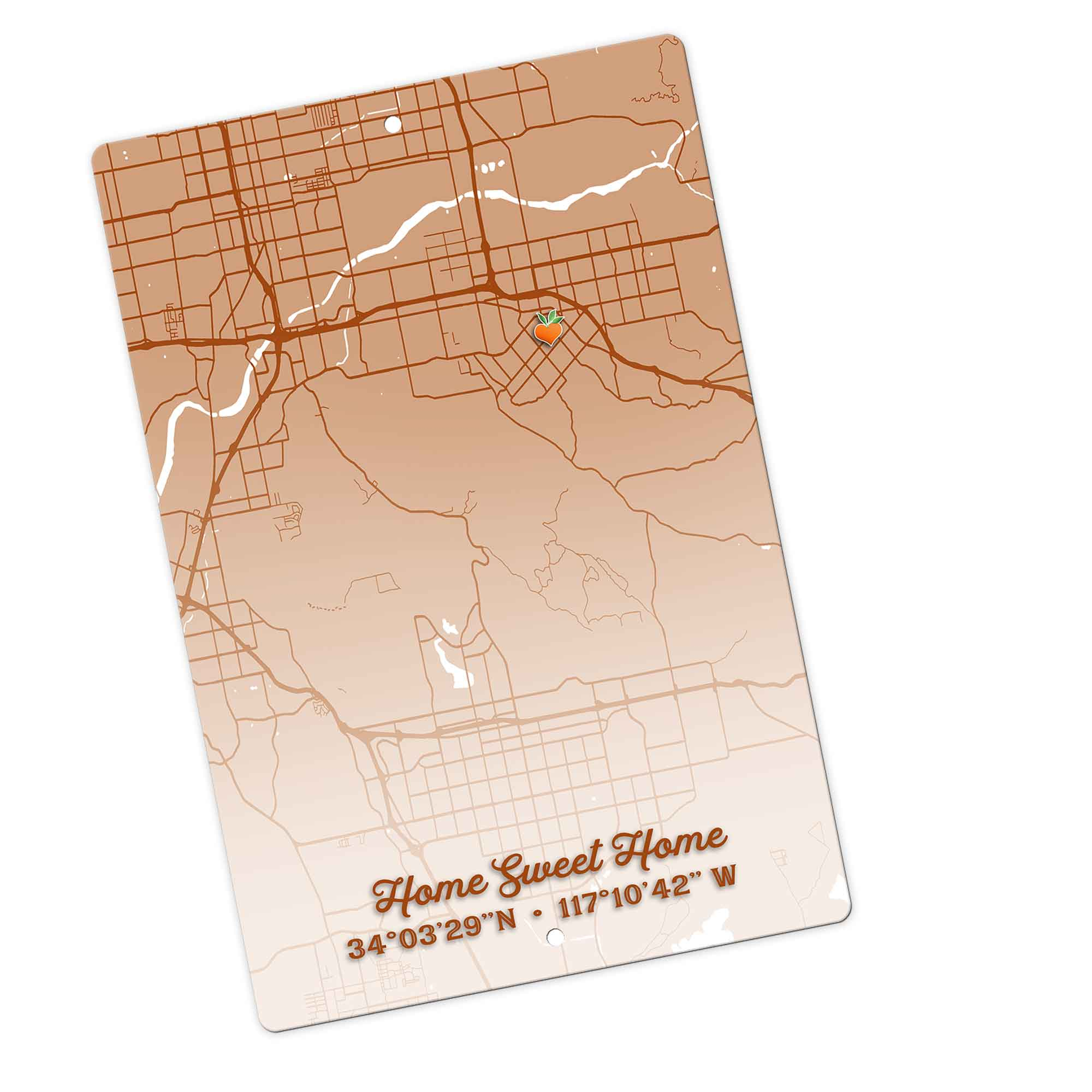 Home Sweet Home With Redlands Map Coordinates Metal Aluminum Sign | PaisleyGroveGIFTS S902g