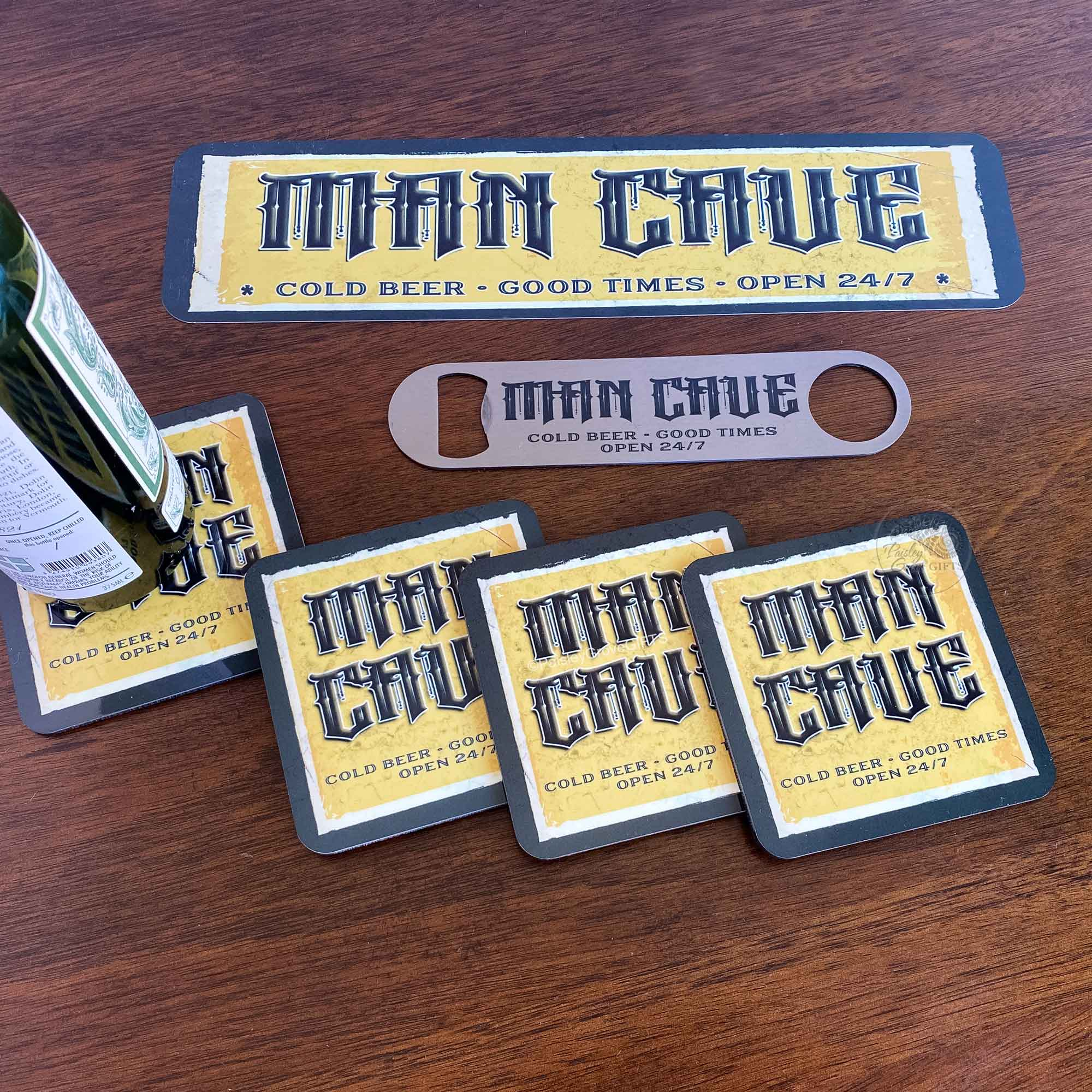 S957b-Copyright PaisleyGroveGIFTS-Mancave Decor Gift for Him Metal Door Sign Beer Bottle Opener Beer Coasters