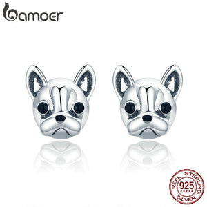 Small Stud Earrings Bulldog.  100% 925 Sterling Silver by Bamoer