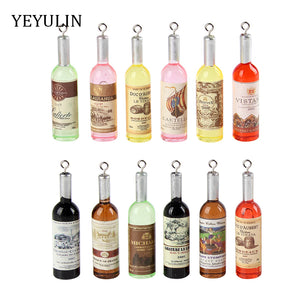 Wine Bottle Charms or Pendants For Bracelets & Necklaces  DIY 12pcs Mixed Color Making 12*52mm