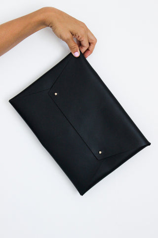 Envelope Clutch - Black Leather