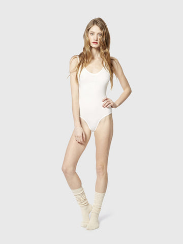 White Rouched Bodysuit