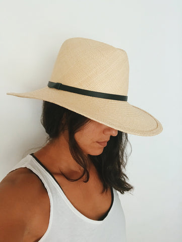 Panama Hat with Black Trim