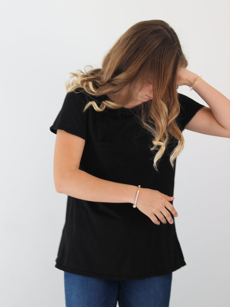Oversized Organic Cotton Black Tee
