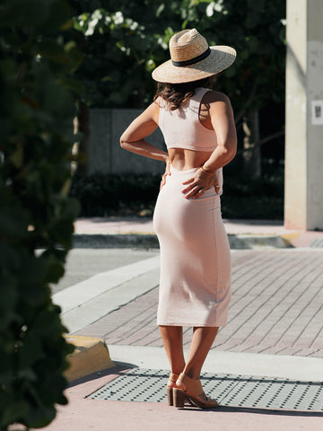 Peek-a-boo | Pink Eucalyptus Midi-Dress