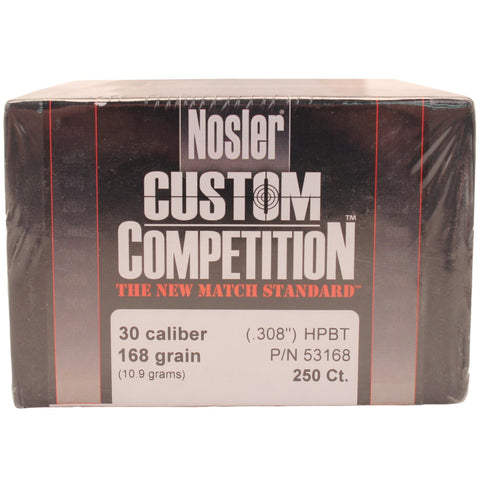 30 Caliber Bullets - Custom Competition, 168 Grains, Hollow Point Boat Tail, Per 250