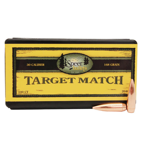 ".30 Caliber Bullets - Target Match, (.308"" Diameter), 168 Grains, Boat Tail Hollow Point, Per 100"