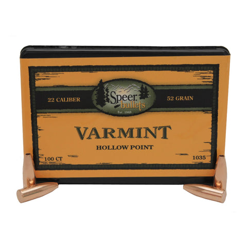 ".22 Caliber Bullets - Varmint, (.224"" Diameter), 52 Grains, Hollow Point (JHP), Per 100"