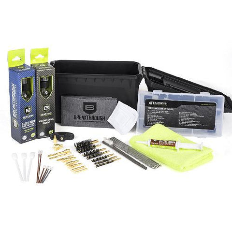 Cleaning Kit - Ammo Can with Solvent-Oil-Grease, Rods-Brusjes-Jags, Patches-Towel-Swabs ect.