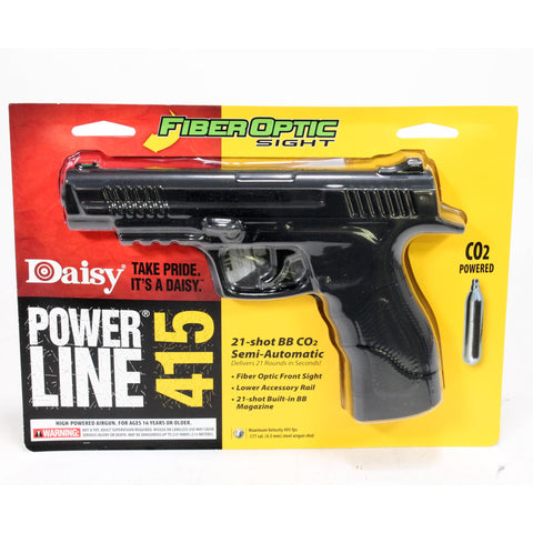 Powerline Air Pistol - Model 415, .177 Caliber, BBs, Black Polymer Grips, Matte Black