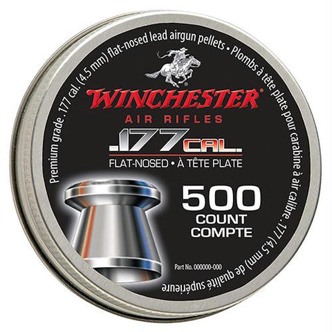 Winchester Air Gun Pellets - .177 Caliber, Lead Flat Nose, Per 500