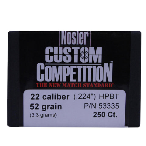 22 Caliber Bullets - Custom Competition, 52 Grains, Hollow Point Boat Tail, Per 250